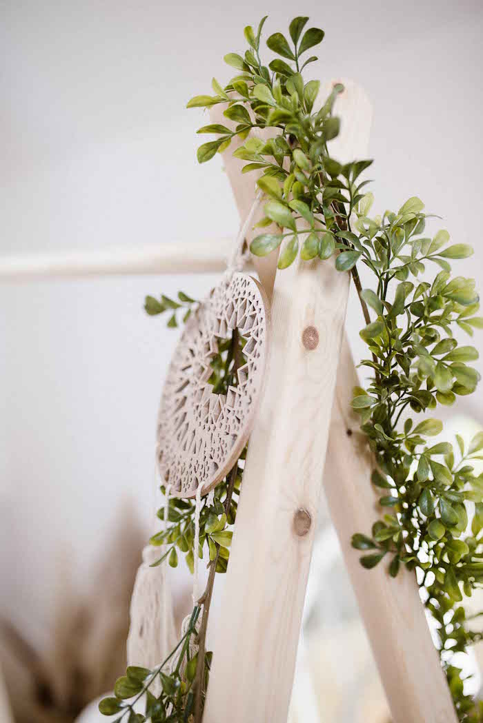 Dreamcatcher and Greenery Garland from a Gorgeous Floral Tent Garland from a Dreamy Bohemian Party for Kids on Kara's Party Ideas | KarasPartyIdeas.com (28)