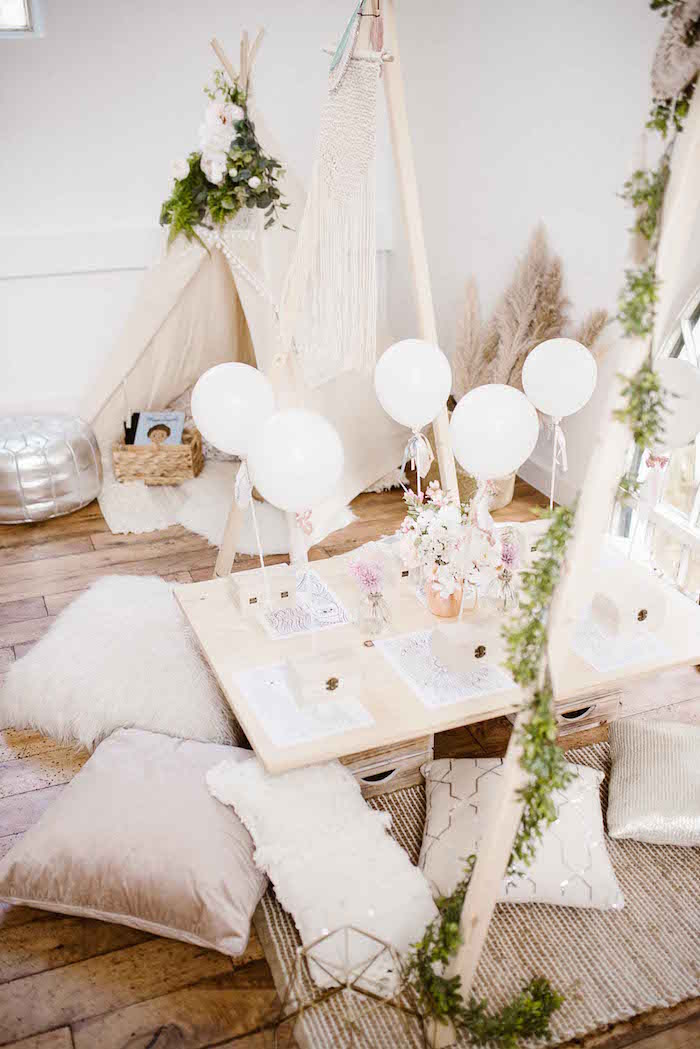 Kid Table from a Dreamy Bohemian Party for Kids on Kara's Party Ideas | KarasPartyIdeas.com (27)
