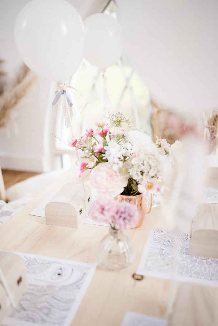 White Balloons and Blooms from a Dreamy Bohemian Party for Kids on Kara's Party Ideas | KarasPartyIdeas.com (21)