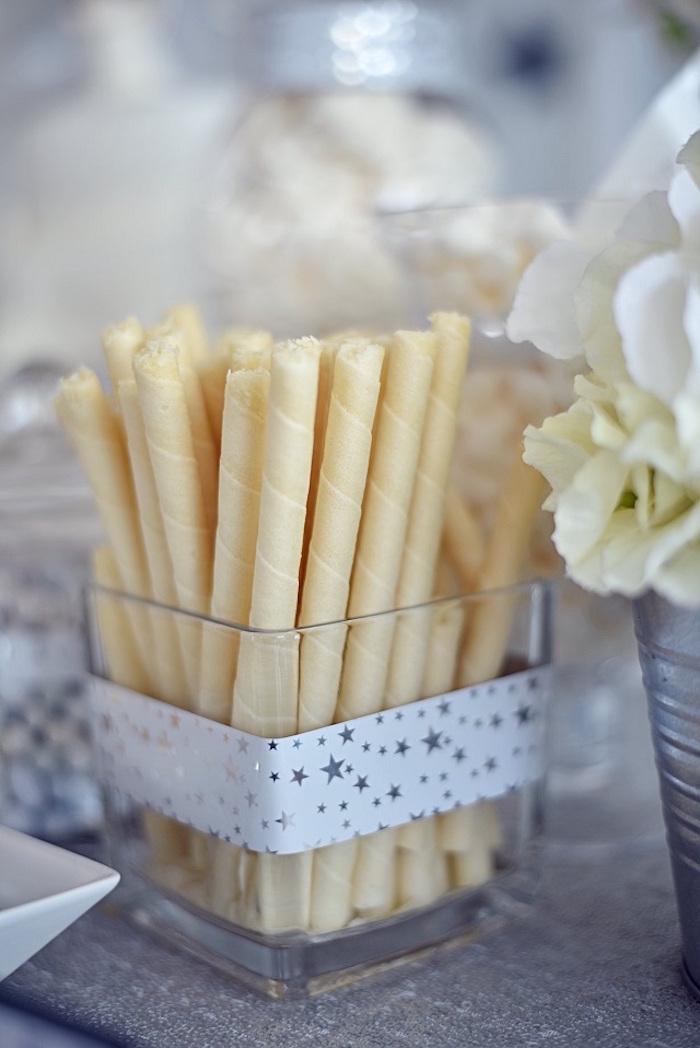 Wafer Sticks from an Elegant White Baptism Party on Kara's Party Ideas | KarasPartyIdeas.com (5)