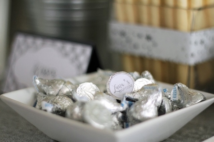 Silver Kisses from an Elegant White Baptism Party on Kara's Party Ideas | KarasPartyIdeas.com (16)