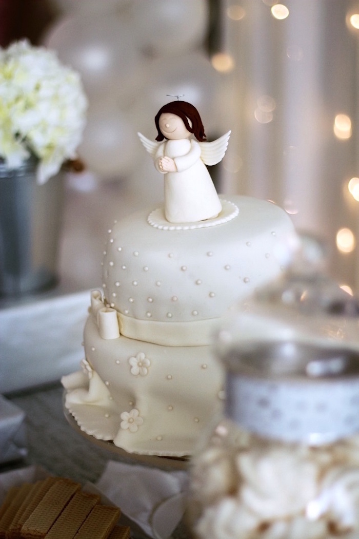 Angel-topped Cake from an Elegant White Baptism Party on Kara's Party Ideas | KarasPartyIdeas.com (15)