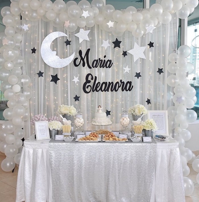 Elegant White Baptism Party Dessert Table on Kara's Party Ideas | KarasPartyIdeas.com (14)