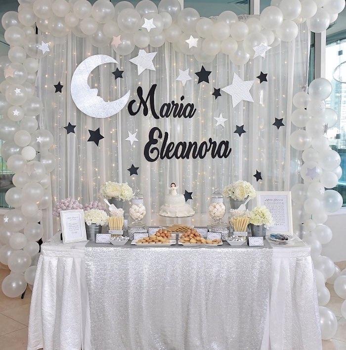 Elegant White Baptism Party Dessert Table on Kara's Party Ideas | KarasPartyIdeas.com (14)