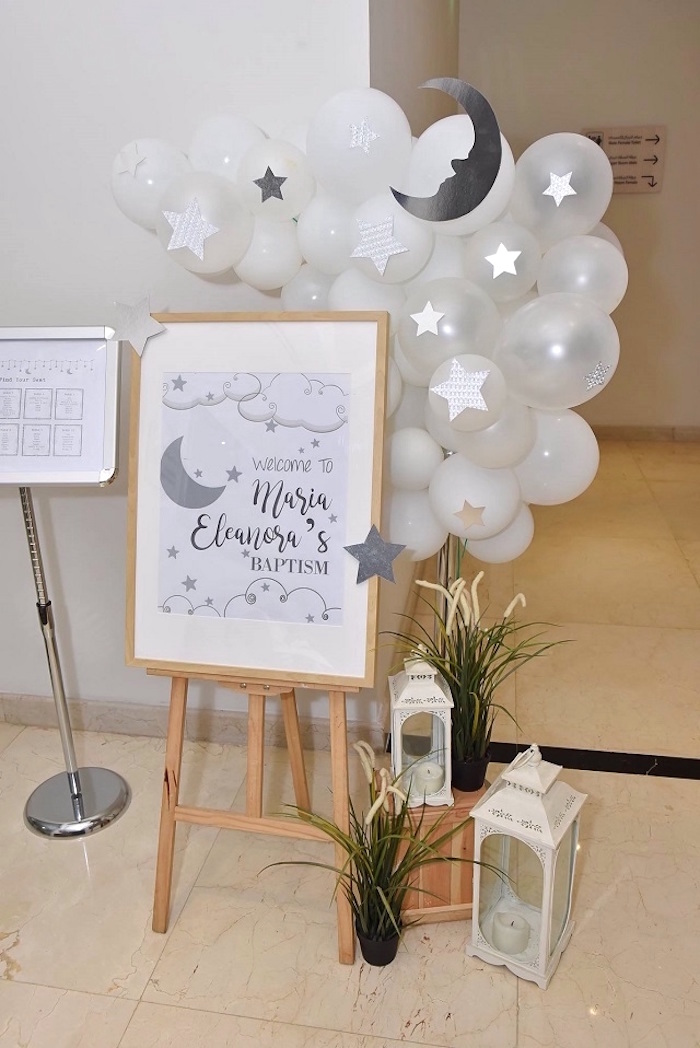 Moon + Star Welcome Sign from an Elegant White Baptism Party on Kara's Party Ideas | KarasPartyIdeas.com (13)