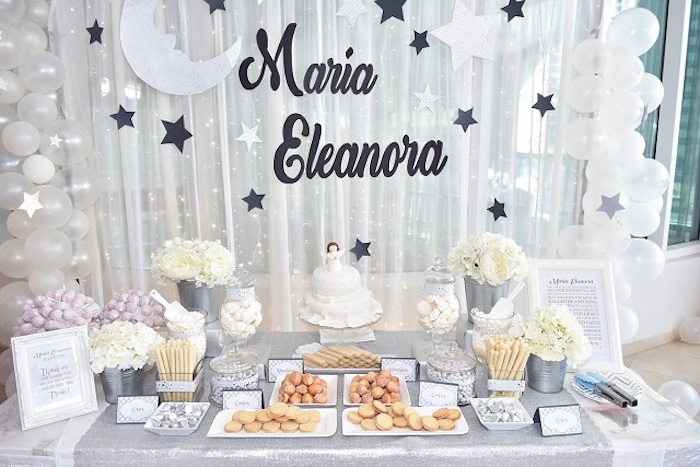 Star and Moon Dessert Table from an Elegant White Baptism Party on Kara's Party Ideas | KarasPartyIdeas.com (10)