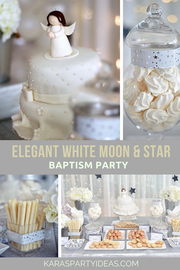 Elegant White Moon _ Star Baptism Party via Kara's Party Ideas - KarasPartyIdeas.com