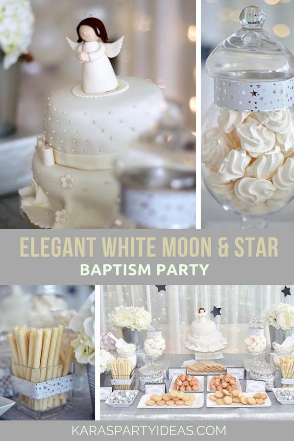 Elegant White Moon _ Star Baptism Party via Kara's Party Ideas - KarasPartyIdeas.com