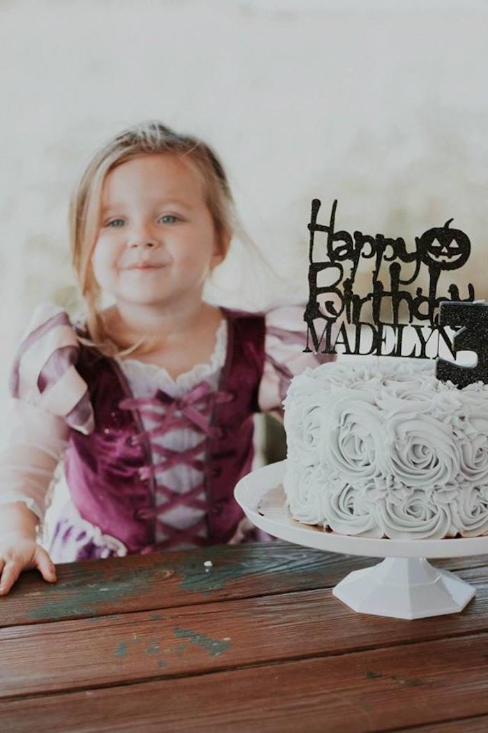 Halloween Rosette Cake from a Fall + Halloween Birthday Party on Kara's Party Ideas | KarasPartyIdeas.com (16)