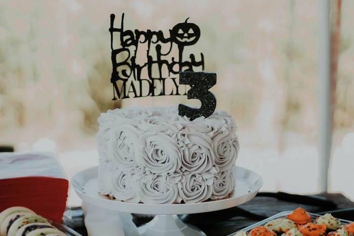 Halloween Rosette Cake from a Fall + Halloween Birthday Party on Kara's Party Ideas | KarasPartyIdeas.com (12)
