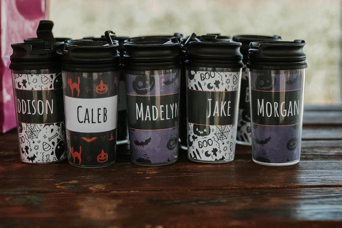 Personalized Halloween Drink Cups from a Fall + Halloween Birthday Party on Kara's Party Ideas | KarasPartyIdeas.com (10)