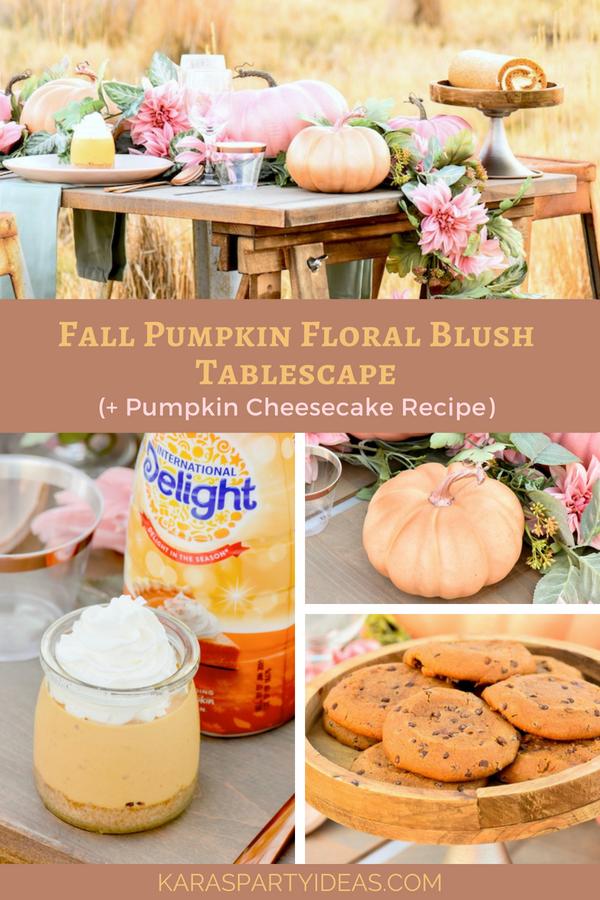 Fall Pumpkin Floral Blush Tablescape (+ Pumpkin Cheesecake Recipe) via Kara's Party Ideas - KarasPartyIdeas.com