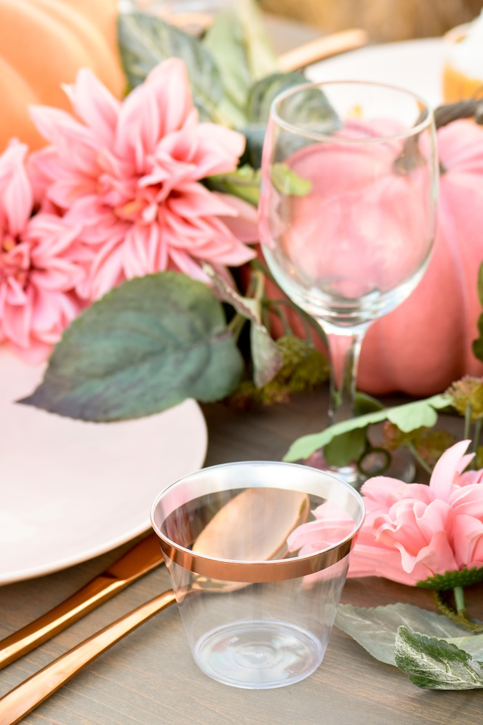 Rose Gold Drinking Glasses at a Fall Pumpkin Floral Blush Tablescape by Kara's Party Ideas KarasPartyIdeas.com