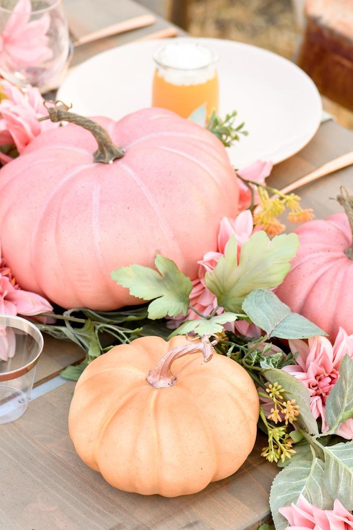 Fall Pumpkin Floral Blush Tablescape by Kara's Party Ideas KarasPartyIdeas.com