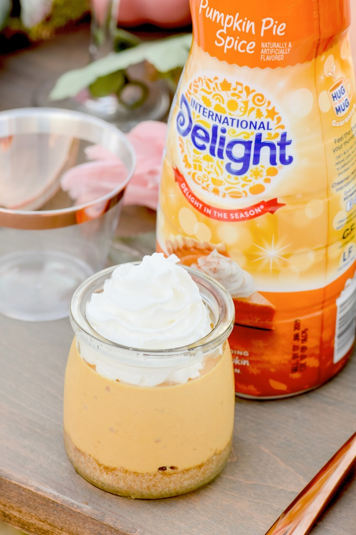 Fall Pumpkin Floral Tablescape and Pumpkin Cheesecake Recipe using International Delight Pumpkin Pie Spice Creamer by Kara's Party Ideas for International Delight-3