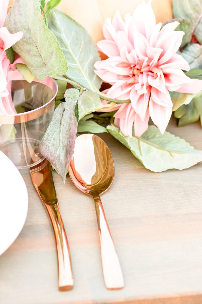 How to set up rose gold silverware on a Fall Pumpkin Floral Blush Tablescape by Kara's Party Ideas KarasPartyIdeas.com