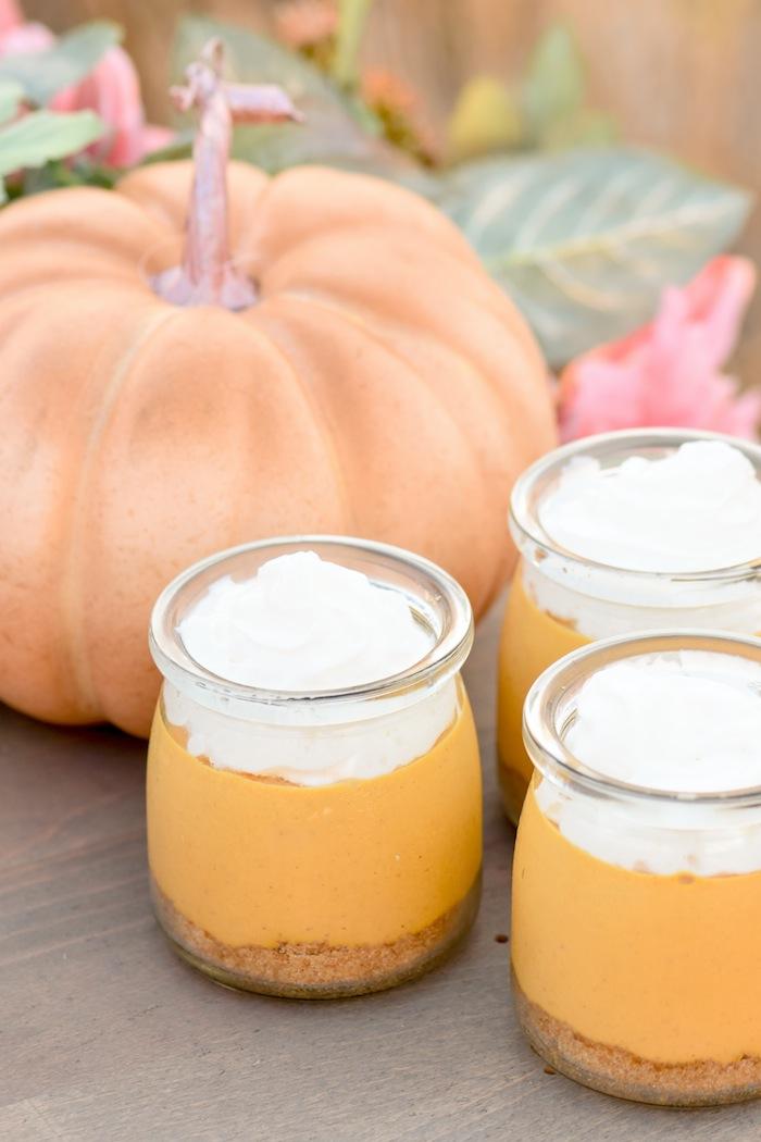 Mini pumpkin cheesecake cups recipe for a Fall Pumpkin Floral Blush Tablescape by Kara's Party Ideas KarasPartyIdeas.com