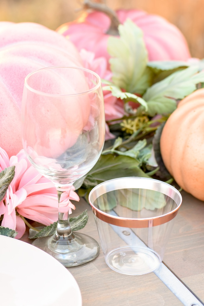 How to set up drinking glasses on a Fall Pumpkin Floral Blush Tablescape by Kara's Party Ideas KarasPartyIdeas.com