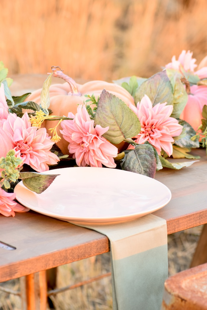 How to set up plates on a Fall Pumpkin Floral Blush Tablescape by Kara's Party Ideas KarasPartyIdeas.com