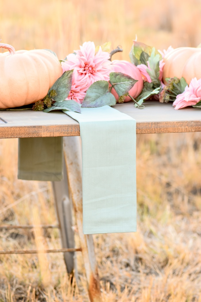 How to set up napkins on a Fall Pumpkin Floral Blush Tablescape by Kara's Party Ideas KarasPartyIdeas.com