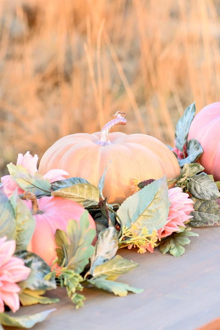 How to set up a Fall Pumpkin Floral Blush Tablescape by Kara's Party Ideas KarasPartyIdeas.com