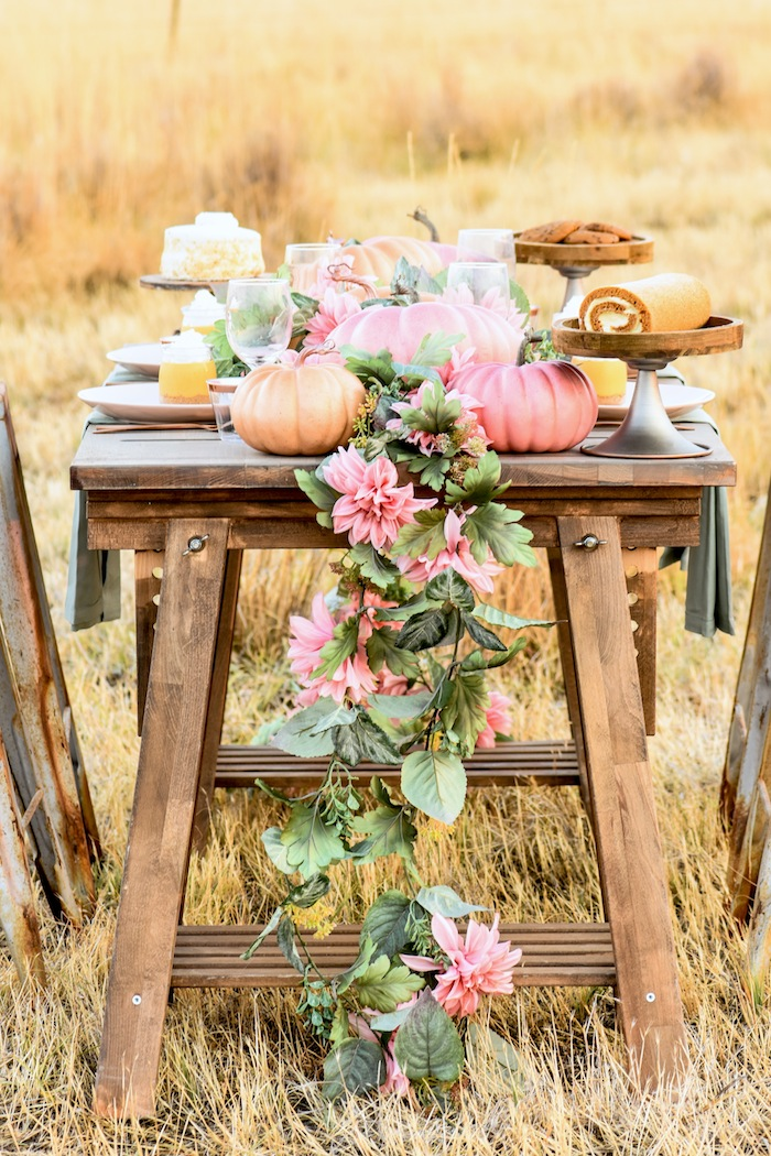 Fall Pumpkin Floral Blush Tablescape on rustic wood trestle table by Kara's Party Ideas KarasPartyIdeas.com