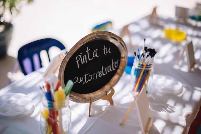 Art Table Signage from a Frida Kahlo Inspired Birthday Fiesta on Kara's Party Ideas | KarasPartyIdeas.com (23)