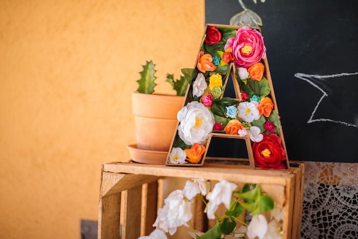 Flower Letter from a Frida Kahlo Inspired Birthday Fiesta on Kara's Party Ideas | KarasPartyIdeas.com (14)