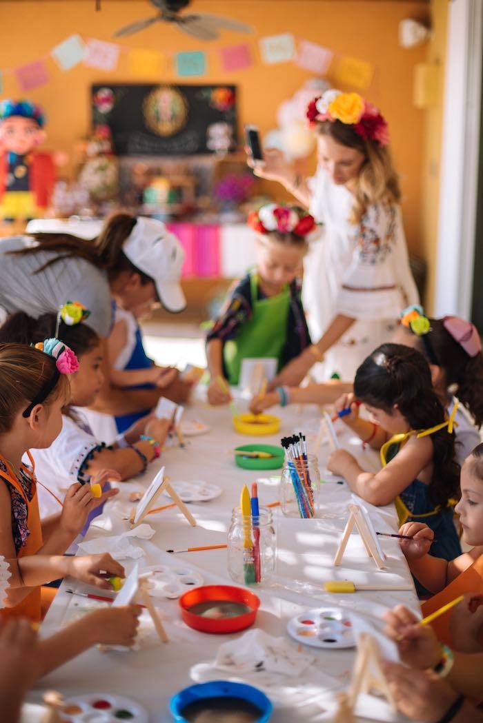 Art Activity Table from a Frida Kahlo Inspired Birthday Fiesta on Kara's Party Ideas | KarasPartyIdeas.com (32)
