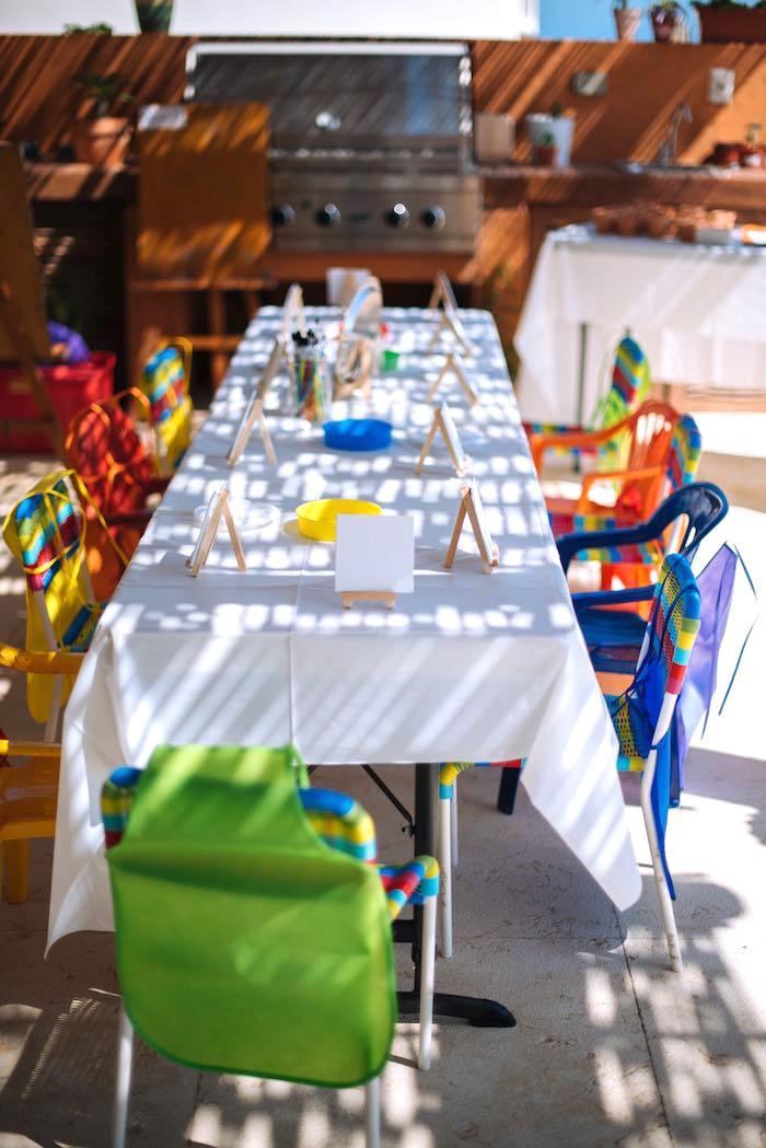 Art Table from a Frida Kahlo Inspired Birthday Fiesta on Kara's Party Ideas | KarasPartyIdeas.com (12)