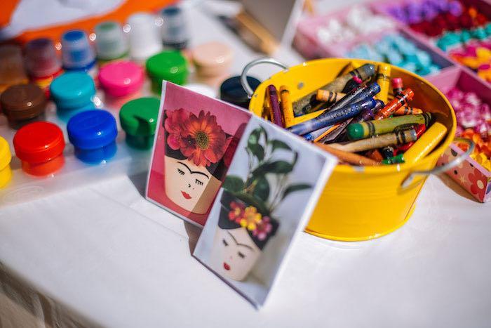 Art Table from a Frida Kahlo Inspired Birthday Fiesta on Kara's Party Ideas | KarasPartyIdeas.com (11)
