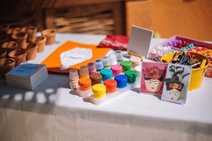Art Activity Table from a Frida Kahlo Inspired Birthday Fiesta on Kara's Party Ideas | KarasPartyIdeas.com (10)