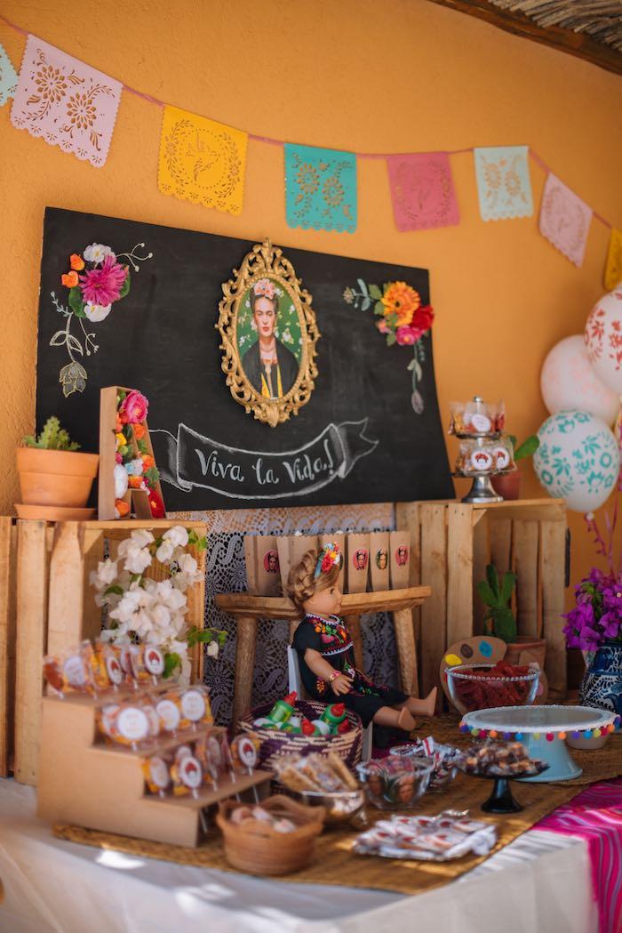 Frida Kahlo Dessert Table from a Frida Kahlo Inspired Birthday Fiesta on Kara's Party Ideas | KarasPartyIdeas.com (9)