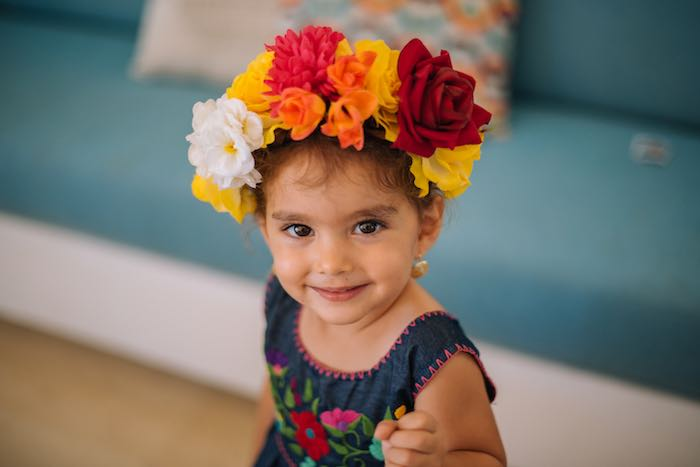 Flower Headband from a Frida Kahlo Inspired Birthday Fiesta on Kara's Party Ideas | KarasPartyIdeas.com (8)