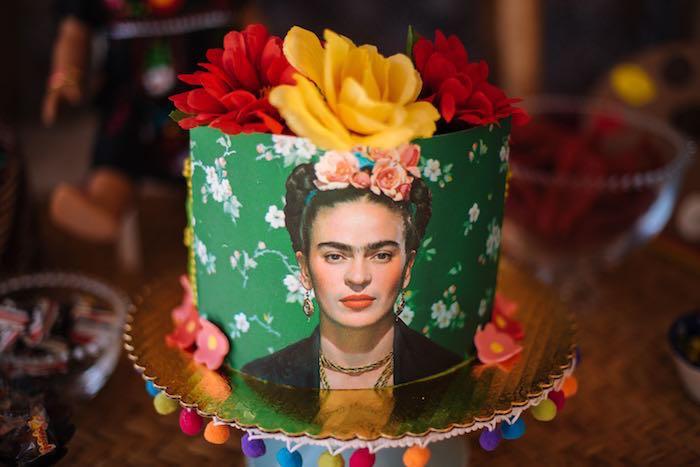 Frida Kahlo Cake from a Frida Kahlo Inspired Birthday Fiesta on Kara's Party Ideas | KarasPartyIdeas.com (5)