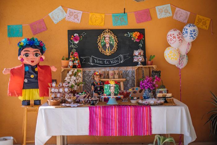 Frida Kahlo Inspired Birthday Fiesta Dessert Table on Kara's Party Ideas | KarasPartyIdeas.com (4)