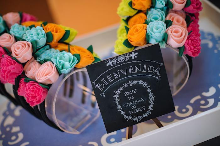 Flower Headbands from a Frida Kahlo Inspired Birthday Fiesta on Kara's Party Ideas | KarasPartyIdeas.com (30)