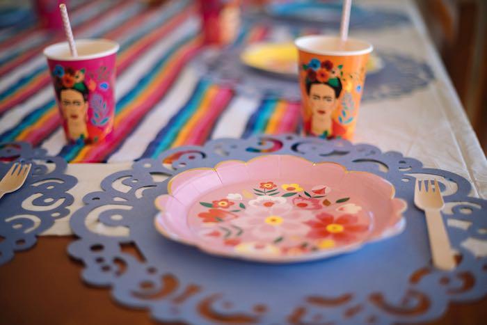 Frida Kahlo Table Setting from a Frida Kahlo Inspired Birthday Fiesta on Kara's Party Ideas | KarasPartyIdeas.com (27)