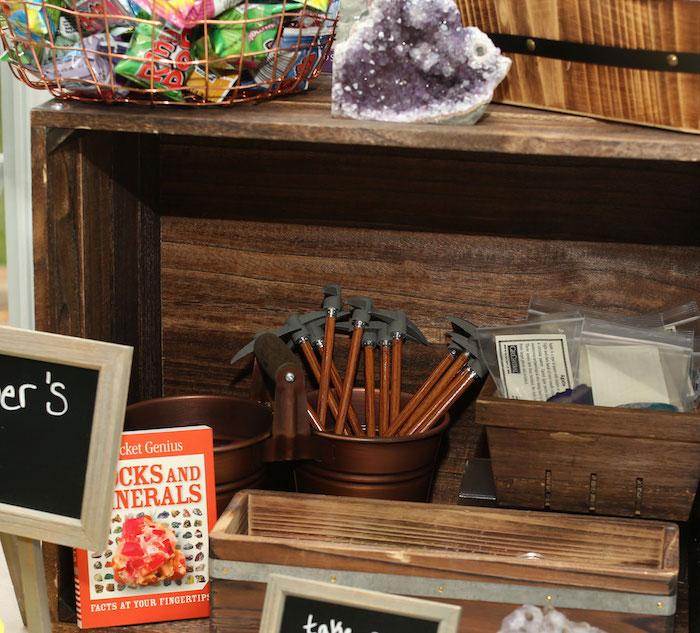 Mining Supply Favor Shelf from a Gem Mining Birthday Party on Kara's Party Ideas | KarasPartyIdeas.com (17)
