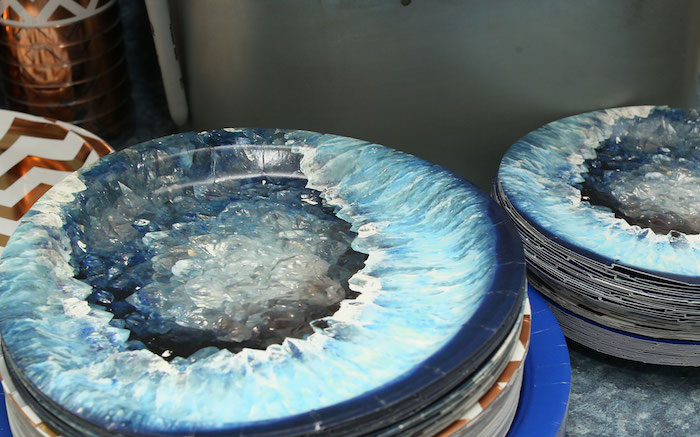 Geode Plates from a Gem Mining Birthday Party on Kara's Party Ideas | KarasPartyIdeas.com (15)