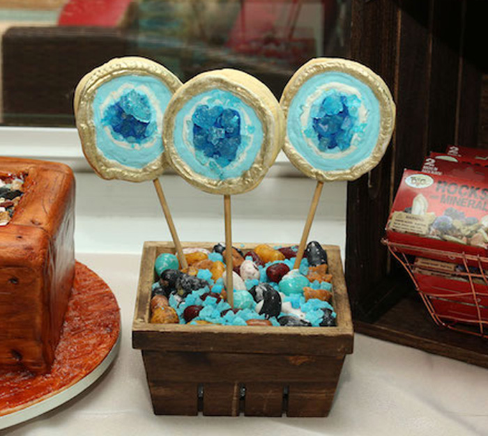 Geode Cookie Pops from a Gem Mining Birthday Party on Kara's Party Ideas | KarasPartyIdeas.com (10)