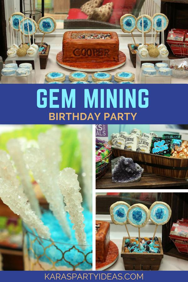 Gem Mining Birthday Party via Kara's Party Ideas - KarasPartyIdeas.com