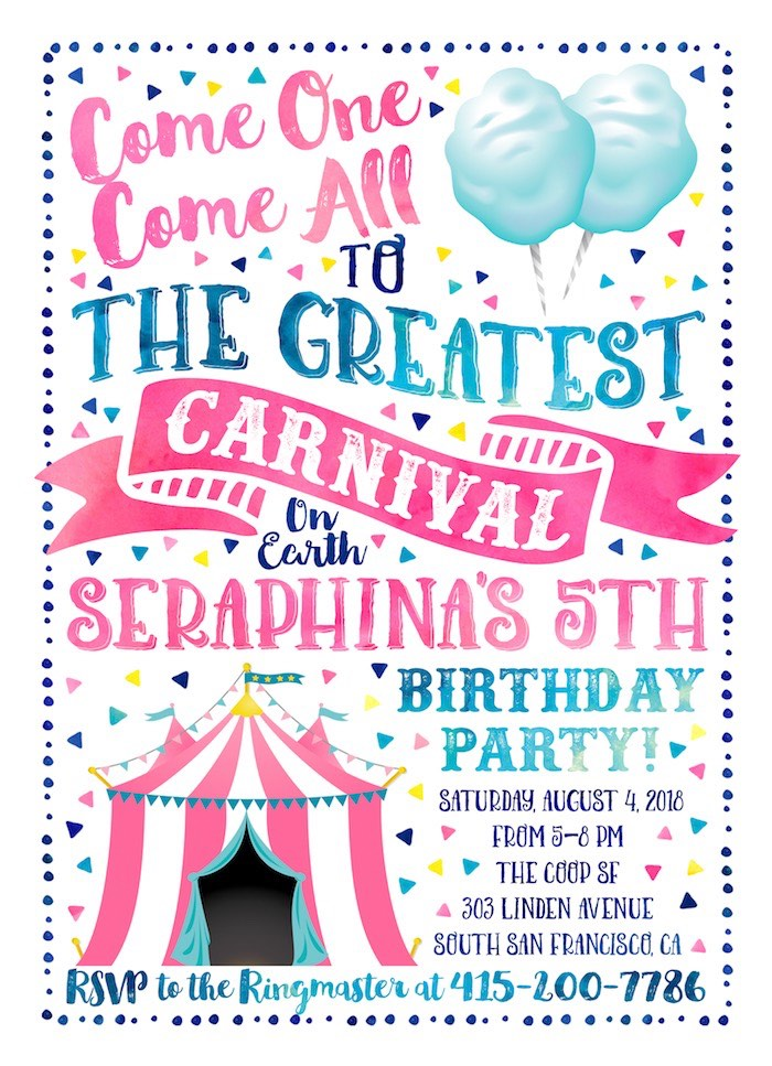 Carnival Party Invite from a Girly Carnival Birthday Party on Kara's Party Ideas | KarasPartyIdeas.com (4)