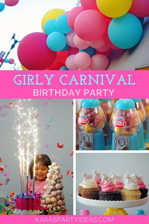 Girly Carnival Birthday Party via Kara's Party Ideas - KarasPartyIdeas.com