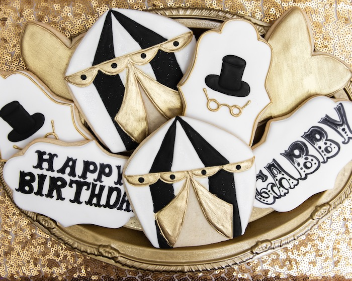 Monochromatic Circus Cookies from a Golden Circus Birthday Party on Kara's Party Ideas | KarasPartyIdeas.com (21)