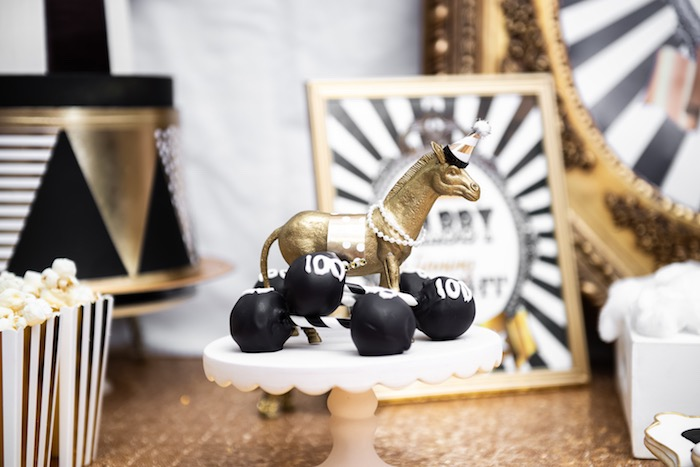 Glam Circus Animal Dessert Pedestal + Dumbbell Cake Pops from a Golden Circus Birthday Party on Kara's Party Ideas | KarasPartyIdeas.com (19)
