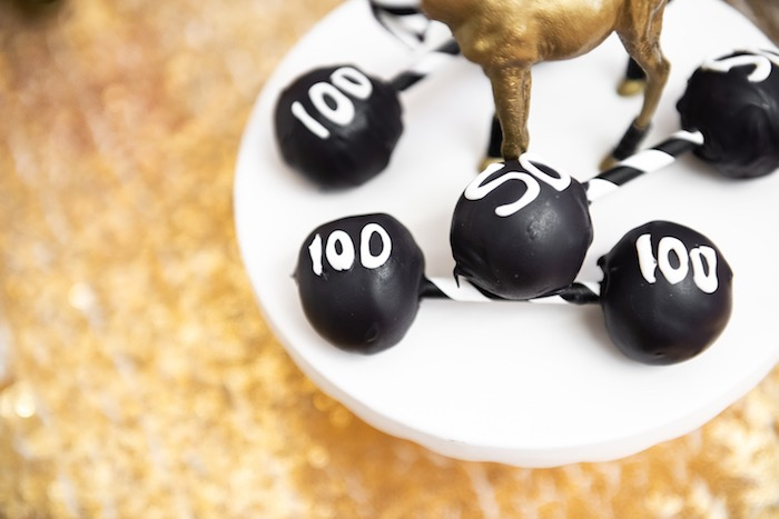 Dumbbell Cake Pops from a Golden Circus Birthday Party on Kara's Party Ideas | KarasPartyIdeas.com (17)