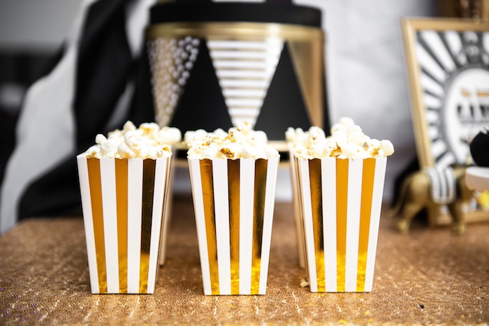 Glam Striped Popcorn Boxes from a Golden Circus Birthday Party on Kara's Party Ideas | KarasPartyIdeas.com (16)