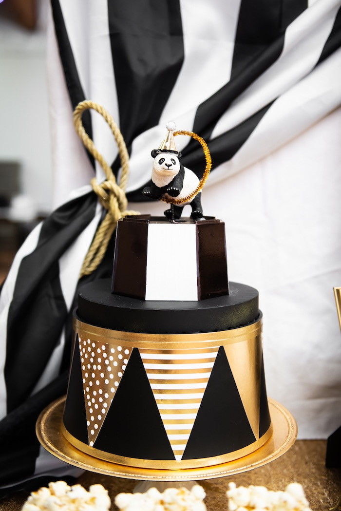 Glam Panda Circus Pedestal from a Golden Circus Birthday Party on Kara's Party Ideas | KarasPartyIdeas.com (15)