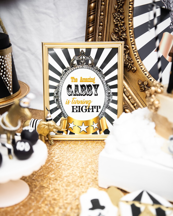Monochromatic Glam Circus Signage from a Golden Circus Birthday Party on Kara's Party Ideas | KarasPartyIdeas.com (14)